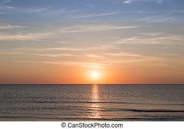 Coucher soleil, sur, Arrière-plans,  océan