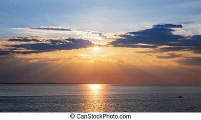 coucher soleil, sur, ciel, océan