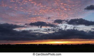 coucher soleil, sur, field., chronocinématographie