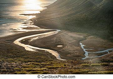 coucher soleil, sur, fjord