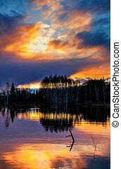 coucher soleil, sur, les, lac