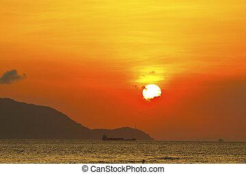 coucher soleil, sur, les, océan