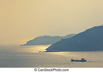 coucher soleil, sur, les, océan, surface