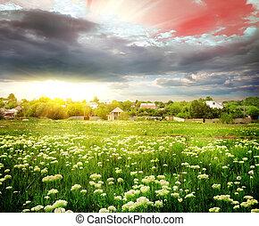 coucher soleil, sur, les, village