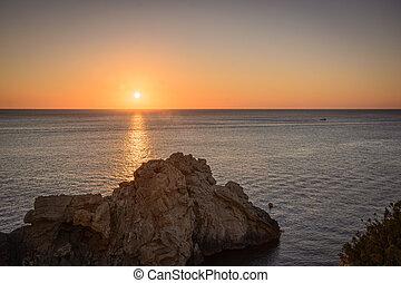 coucher soleil, sur, méditerranéen, sea.