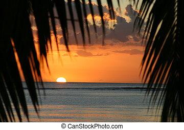 coucher soleil, sur, mauritiu