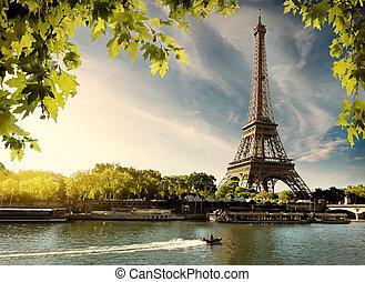 coucher soleil, sur, paris