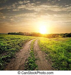 coucher soleil, sur, route pays