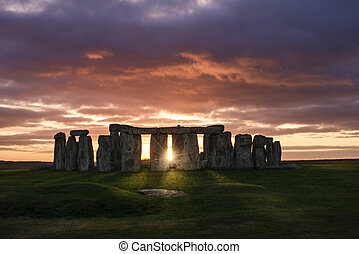 coucher soleil, sur, stonehenge