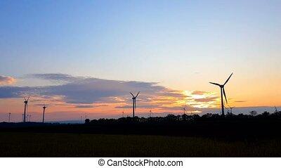 coucher soleil, sur, turbines, vent