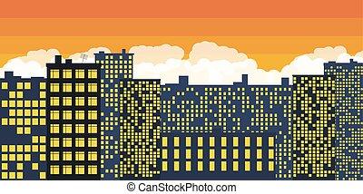 coucher soleil, sur, vecteur, city.