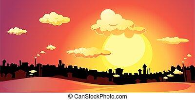 coucher soleil, sur, -, vecteur, ville