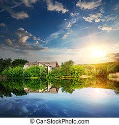 coucher soleil, sur, village