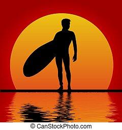coucher soleil, surfeur