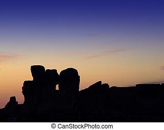 coucher soleil, temples
