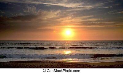 coucher soleil, timelapse, fracas, o, vagues