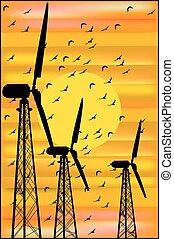 coucher soleil, troupeau, turbines, oiseaux, vent