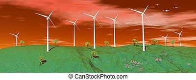 coucher soleil, turbines, vent, nature