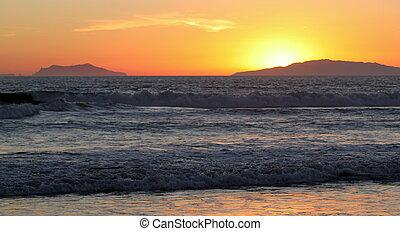coucher soleil, vagues