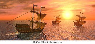 coucher soleil, vaisseaux