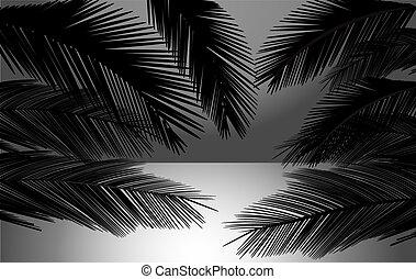coucher soleil, vecteur, plage, illustration, paumes