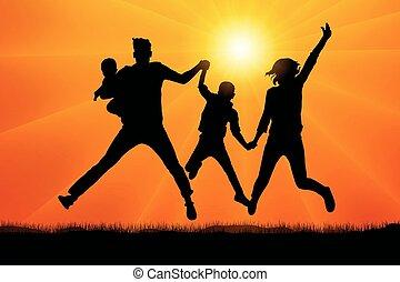 coucher soleil, vecteur, silhouette, famille, sauter