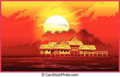 coucher soleil, village
