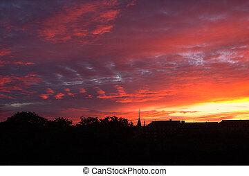 coucher soleil, ville, au-dessus