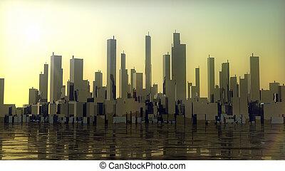 coucher soleil, ville, panorama, à, océan