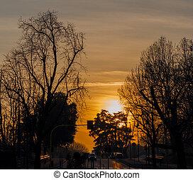 coucher soleil, ville