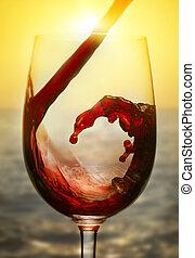 coucher soleil, vin rouge