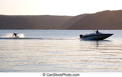 coucher soleil, vitesse, waterski, bateau