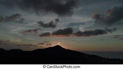 coucher soleil, vue, aérien, île