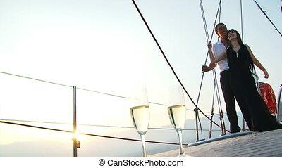 coucher soleil, yacht, romantique