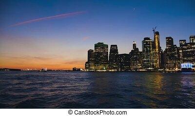 coucher soleil, york, panorama, manhattan, nouveau, en ville