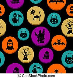 couches, éléments, eps10, fichier, coloré, modèle, halloween, seamless, arrière-plan., editing., vecteur, facile, organisé, heureux