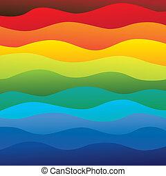 couches, arc-en-ciel, coloré, &, ceci, vibrant, résumé, contient, -, spectre, illustration, eau océan, couleurs, vecteur, lisser, fond, vagues, (backdrop), graphic.