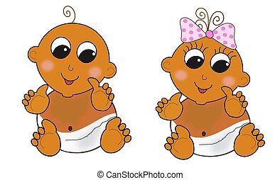 couches, -, brun, deux, sombre, bébés