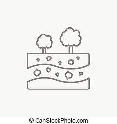 couches, différent, coupure, sol, sommet, arbres, ligne, icon.