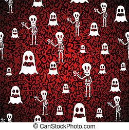 couches, eps10, fichier, organisé, halloween, seamless, arrière-plan., editing., vecteur, facile, modèle, fantômes, squelettes, heureux