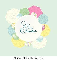 couches, lettrage, éléments, eps10, fichier, coloré, oeufs, organisé, salutation, editing., vecteur, facile, composition., fleurs, paques, carte, heureux