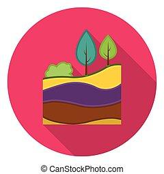 couches, plat, style, illustration., symbole, isolé, mine, arrière-plan., vecteur, la terre, blanc, icône, stockage