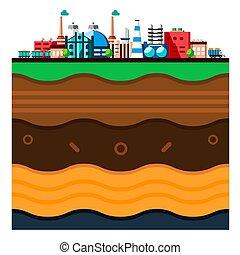 couches, plat, style, industriel, bâtiments., processus, technologie, concept., global, illustration, écologie, structure, fabrication, earth., dessin animé, papercut