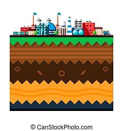 couches, plat, style, industriel, bâtiments., processus, technologie, concept., global, usine, illustration, écologie, structure, fabrication, earth., dessin animé, papercut