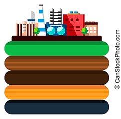 couches, plat, style, industriel, bâtiments., processus, technologie, concept., global, illustration, écologie, fabrication, earth., dessin animé, structure
