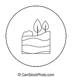 couches, style, illustration., icône, symbole, isolé, mine, arrière-plan., vecteur, la terre, blanc, stockage, contour