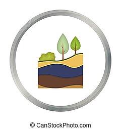 couches, style, illustration., symbole, isolé, mine, arrière-plan., vecteur, la terre, blanc, icône, dessin animé, stockage