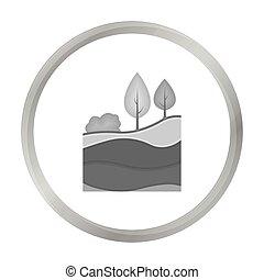 couches, style, illustration., symbole, mine, isolé, arrière-plan., vecteur, la terre, monochrome, blanc, icône, stockage