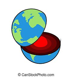 couches, terres, core., centre, section, planet., crust., la terre, interne, structure