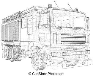 couches, truck., brûler, créé, visible, wire-frame, separated., 3d, invisible, eps10, vecteur, lignes, format.